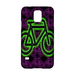 Bike Graphic Neon Colors Pink Purple Green Bicycle Light Samsung Galaxy S5 Hardshell Case