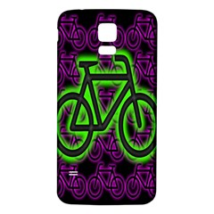 Bike Graphic Neon Colors Pink Purple Green Bicycle Light Samsung Galaxy S5 Back Case (white) by Alisyart