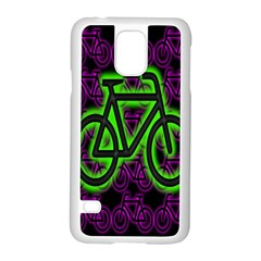 Bike Graphic Neon Colors Pink Purple Green Bicycle Light Samsung Galaxy S5 Case (white)