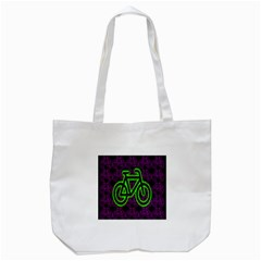 Bike Graphic Neon Colors Pink Purple Green Bicycle Light Tote Bag (white) by Alisyart