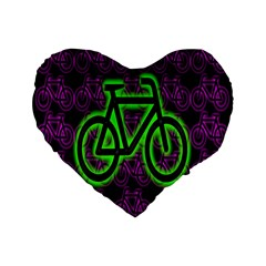 Bike Graphic Neon Colors Pink Purple Green Bicycle Light Standard 16  Premium Flano Heart Shape Cushions