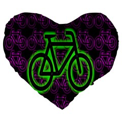 Bike Graphic Neon Colors Pink Purple Green Bicycle Light Large 19  Premium Flano Heart Shape Cushions