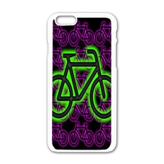 Bike Graphic Neon Colors Pink Purple Green Bicycle Light Apple Iphone 6/6s White Enamel Case by Alisyart