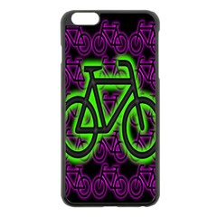 Bike Graphic Neon Colors Pink Purple Green Bicycle Light Apple Iphone 6 Plus/6s Plus Black Enamel Case