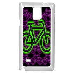 Bike Graphic Neon Colors Pink Purple Green Bicycle Light Samsung Galaxy Note 4 Case (white)
