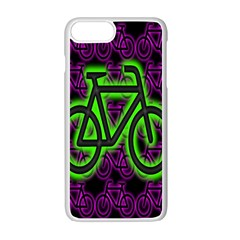 Bike Graphic Neon Colors Pink Purple Green Bicycle Light Apple Iphone 7 Plus White Seamless Case