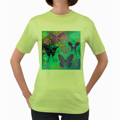 Butterfly Vector Background Women s Green T Shirt