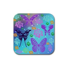 Butterfly Vector Background Rubber Square Coaster (4 Pack)  by Amaryn4rt