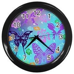 Butterfly Vector Background Wall Clocks (black) by Amaryn4rt