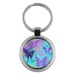 Butterfly Vector Background Key Chains (round)  by Amaryn4rt
