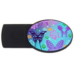 Butterfly Vector Background Usb Flash Drive Oval (2 Gb) by Amaryn4rt