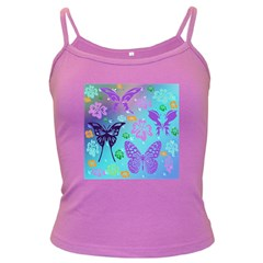 Butterfly Vector Background Dark Spaghetti Tank
