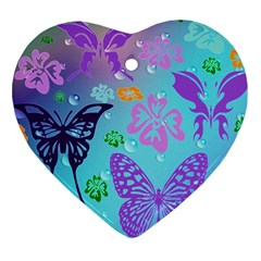 Butterfly Vector Background Heart Ornament (two Sides) by Amaryn4rt