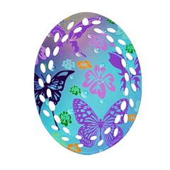 Butterfly Vector Background Oval Filigree Ornament (two Sides) by Amaryn4rt