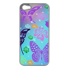 Butterfly Vector Background Apple Iphone 5 Case (silver) by Amaryn4rt