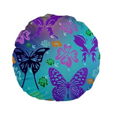 Butterfly Vector Background Standard 15  Premium Round Cushions by Amaryn4rt