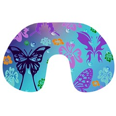 Butterfly Vector Background Travel Neck Pillows by Amaryn4rt