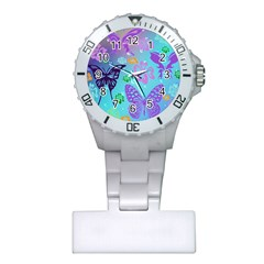 Butterfly Vector Background Plastic Nurses Watch by Amaryn4rt