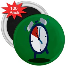 Alarm Clock Weker Time Red Blue Green 3  Magnets (100 Pack) by Alisyart