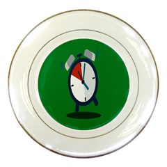Alarm Clock Weker Time Red Blue Green Porcelain Plates