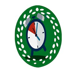 Alarm Clock Weker Time Red Blue Green Oval Filigree Ornament (two Sides)