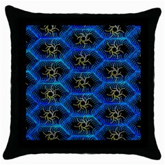 Blue Bee Hive Pattern Throw Pillow Case (black) by Amaryn4rt