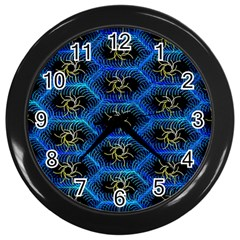 Blue Bee Hive Pattern Wall Clocks (black) by Amaryn4rt