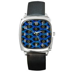 Blue Bee Hive Pattern Square Metal Watch by Amaryn4rt