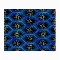 Blue Bee Hive Pattern Small Glasses Cloth by Amaryn4rt