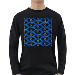 Blue Bee Hive Pattern Long Sleeve Dark T Shirts by Amaryn4rt