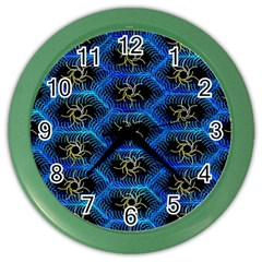 Blue Bee Hive Pattern Color Wall Clocks by Amaryn4rt
