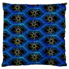 Blue Bee Hive Pattern Large Flano Cushion Case (one Side) by Amaryn4rt