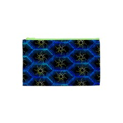 Blue Bee Hive Pattern Cosmetic Bag (xs)