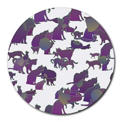 Many Cats Silhouettes Texture Round Mousepads by Amaryn4rt