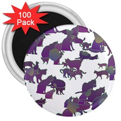 Many Cats Silhouettes Texture 3  Magnets (100 Pack) by Amaryn4rt