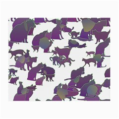 Many Cats Silhouettes Texture Small Glasses Cloth (2 Side)