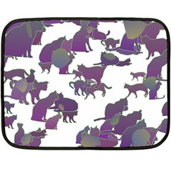 Many Cats Silhouettes Texture Double Sided Fleece Blanket (mini)  by Amaryn4rt
