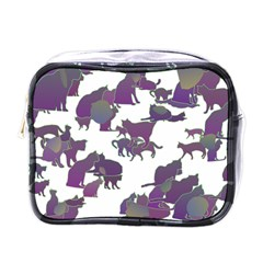 Many Cats Silhouettes Texture Mini Toiletries Bags by Amaryn4rt