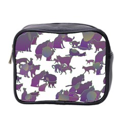 Many Cats Silhouettes Texture Mini Toiletries Bag 2 Side by Amaryn4rt