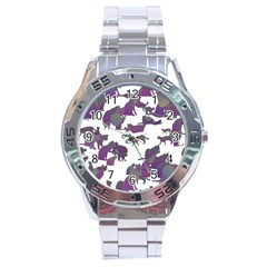 Many Cats Silhouettes Texture Stainless Steel Analogue Watch by Amaryn4rt