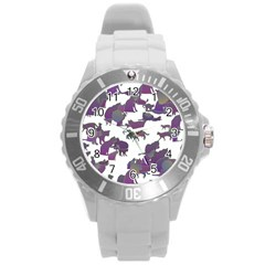 Many Cats Silhouettes Texture Round Plastic Sport Watch (l) by Amaryn4rt