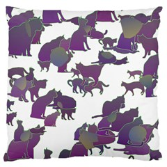 Many Cats Silhouettes Texture Large Cushion Case (two Sides) by Amaryn4rt