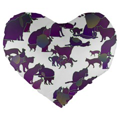 Many Cats Silhouettes Texture Large 19  Premium Heart Shape Cushions by Amaryn4rt