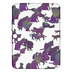 Many Cats Silhouettes Texture Samsung Galaxy Tab 3 (10 1 ) P5200 Hardshell Case
