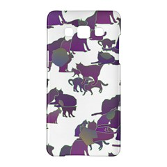 Many Cats Silhouettes Texture Samsung Galaxy A5 Hardshell Case  by Amaryn4rt