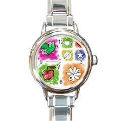 A Set Of Watercolour Icons Round Italian Charm Watch