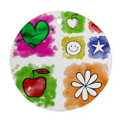 A Set Of Watercolour Icons Ornament (Round)