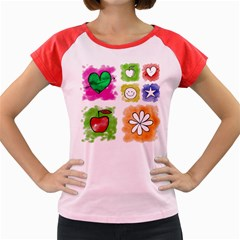 A Set Of Watercolour Icons Women s Cap Sleeve T-Shirt