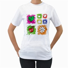 A Set Of Watercolour Icons Women s T-Shirt (White) (Two Sided)