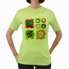 A Set Of Watercolour Icons Women s Green T-Shirt